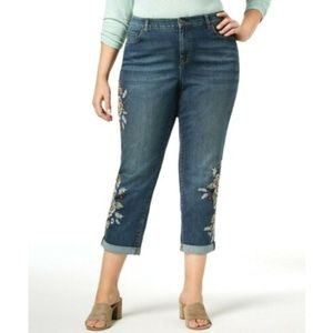 Style & Co. Trendy Embroidered Boyfriend Jeans 14W